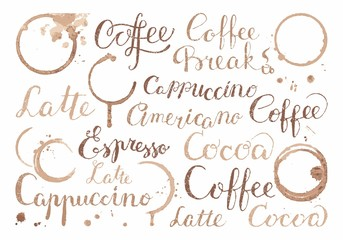 Background with coffee words in retro style
