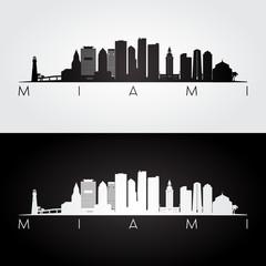 Miami city skyline silhouette