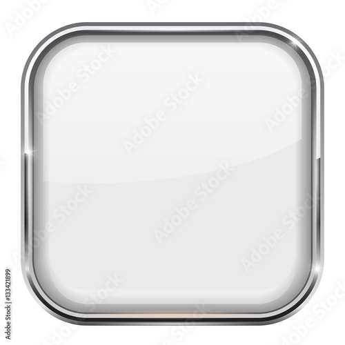 """White square button. Shiny 3d icon with metal frame ..."
