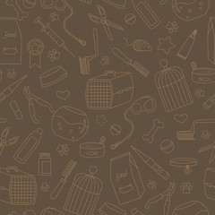 Seamless background on the topic of pet care, pet shop, simple contour icons, beige outline on a brown background