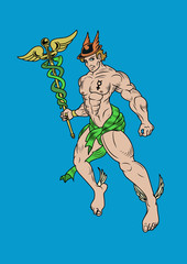 Representation of greek god Hermes also known as Mercury. Vector illustration