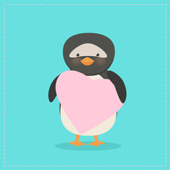 Penguin holding a heart. Plush toy penguin with heart. Gift. Postcard