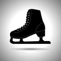 Ice skate. Silhouette black icon
