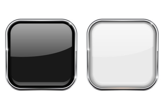Black and white square buttons. In chrome frame