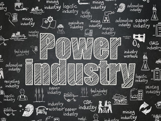 Manufacuring concept: Power Industry on School board background