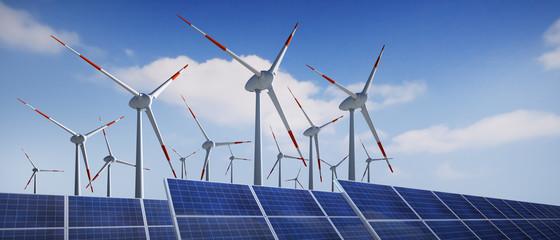 Windräder und Solaranlage vor Wolkenhimmel