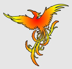 Flying fiery phoenix color silhouette