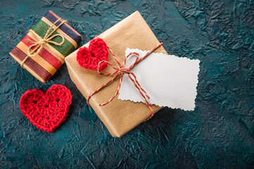 Gift box and a greeting card