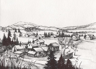 Rural landscape with old farmhouse and garden. Hand drawn Artistic illustration