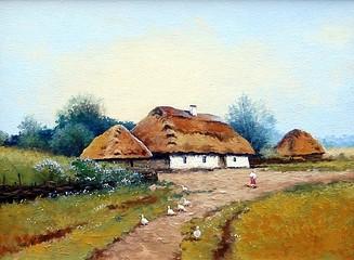 Ukrainian landscape, road,oil paintings