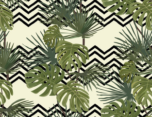 Palm leaves. Tropical print. Zigzag background. Exotic seamless pattern.