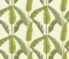 Banana leaves. Tropical print. Exotic seamless pattern. Vector wallpaper.