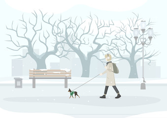 Woman walking her dog (Russian Toy-Terrier) in park. Snow covered park and city view. Vector Illustration.