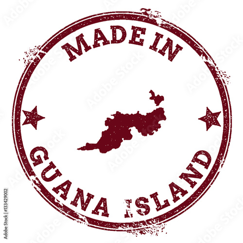Guana island seal vintage island map sticker grunge rubber stamp with made in text