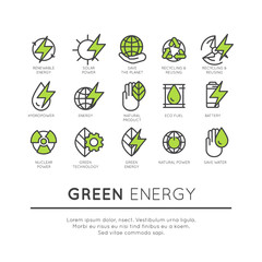 Vector Icon Style Logo Set of thin line icons of environment, renewable energy, sustainable technology, recycling, ecology solutions. Icons for website, mobile app design