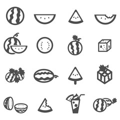 watermelon melon cantaloupe icon set vector