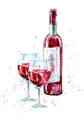 Bottle of red wine and glasses.Picture of a alcoholic drink.Watercolor hand drawn illustration.