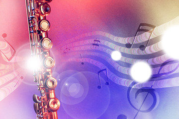Illustration transverse flute with red and blue lights horizonta