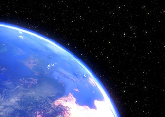 planet earth in space closeup - 3D render