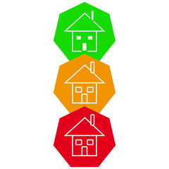 House in color shape on white background
