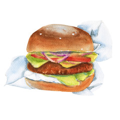 Sandwich with cutlet. Isolated on white background. Watercolor illustration.