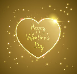 Gold Heart valentine's day light vector background