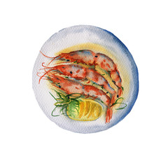 Dish with shrimp. Isolated on white background. Watercolor illustration.