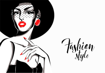 Black and white fashion woman, ledy wamp model with boutique logo background. Hand drawn vector