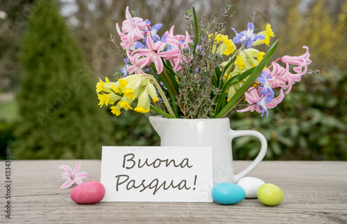 Happy easter italian greeting card for the easter celebration with happy easter italian greeting card for the easter celebration with the text happy easter m4hsunfo