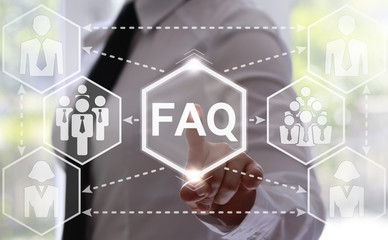 Businesswoman presses faq hexagon button on virtual screen. Businessman touching icon faq on touch screen. Support concept, business. Frequently asked question (FAQ) concept for website service.