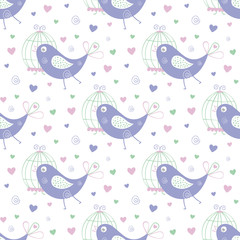 seamless bird pattern and background vector illustration