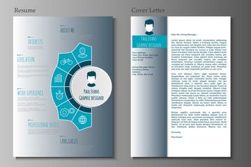 Flat resume infographic design.