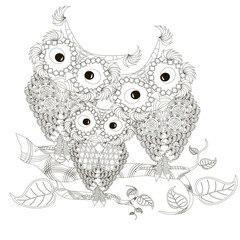 Zentangle stylized black and white three owls sitting on the tree branches, hand drawn, vector illustration