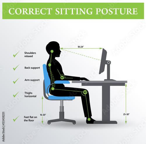 """Ergonomics. Correct Sitting Posture"" Stock Image And"