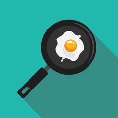 fried eggs in a pan flat style with long shadow isolated on green background. breakfast elements vector sign symbol