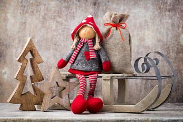 Christmas greeting card. Noel gnome background. Christmas symbol