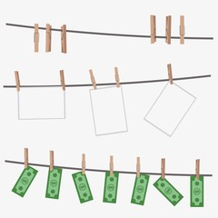 Dollar bills hanging on rope attached with clothes pins.