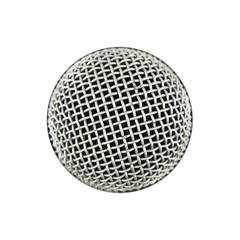Microphone close up top view isolated on white