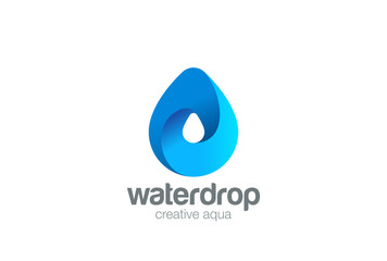 Water drop Logo design 3D vector. Waterdrop icon. Aqua droplet