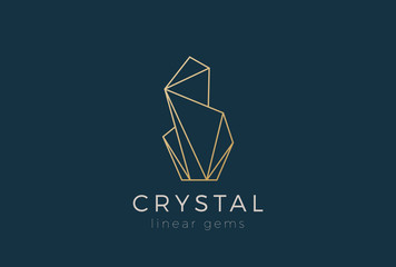 Crystal Gems Logo design Linear. Jewelry Fashion Luxury icon