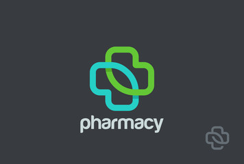 Pharmacy Logo eco cross design vector. Clinic Medicine Logotype