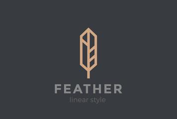 Quill Feather Pen Logo design vector Geometric Linear Fototapete