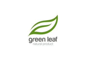 Green Leaf eco organic Logo design vector