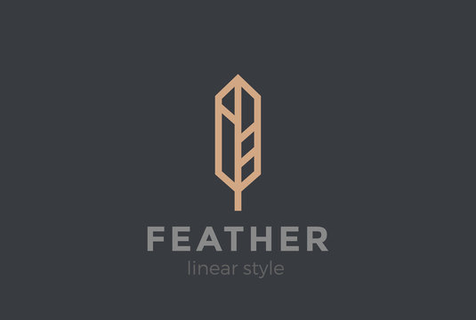 Quill Feather Pen Logo design vector Geometric Linear