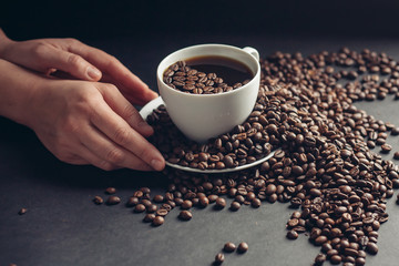 coffee cup saucer coffee beans