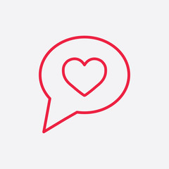 love like heart sign line icon red on white background