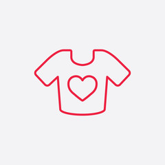 t-shirt with heart line icon red on white background