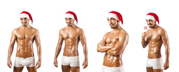 Nude Santa isolated on white