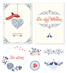 Ornate Valentine's greeting cards set with typographic design, swirl heart shape, birds, sticker, banners, decorative frames and floral wreath. Vector illustration.