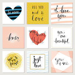 Retro Valentine's Day typography cards and prints. Hand lettering design. Vector illustration.